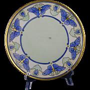 Thomas Bavaria Arts & Crafts Blue Butterfly Motif Plate (c.1908-1930) - Keramic Studio Design