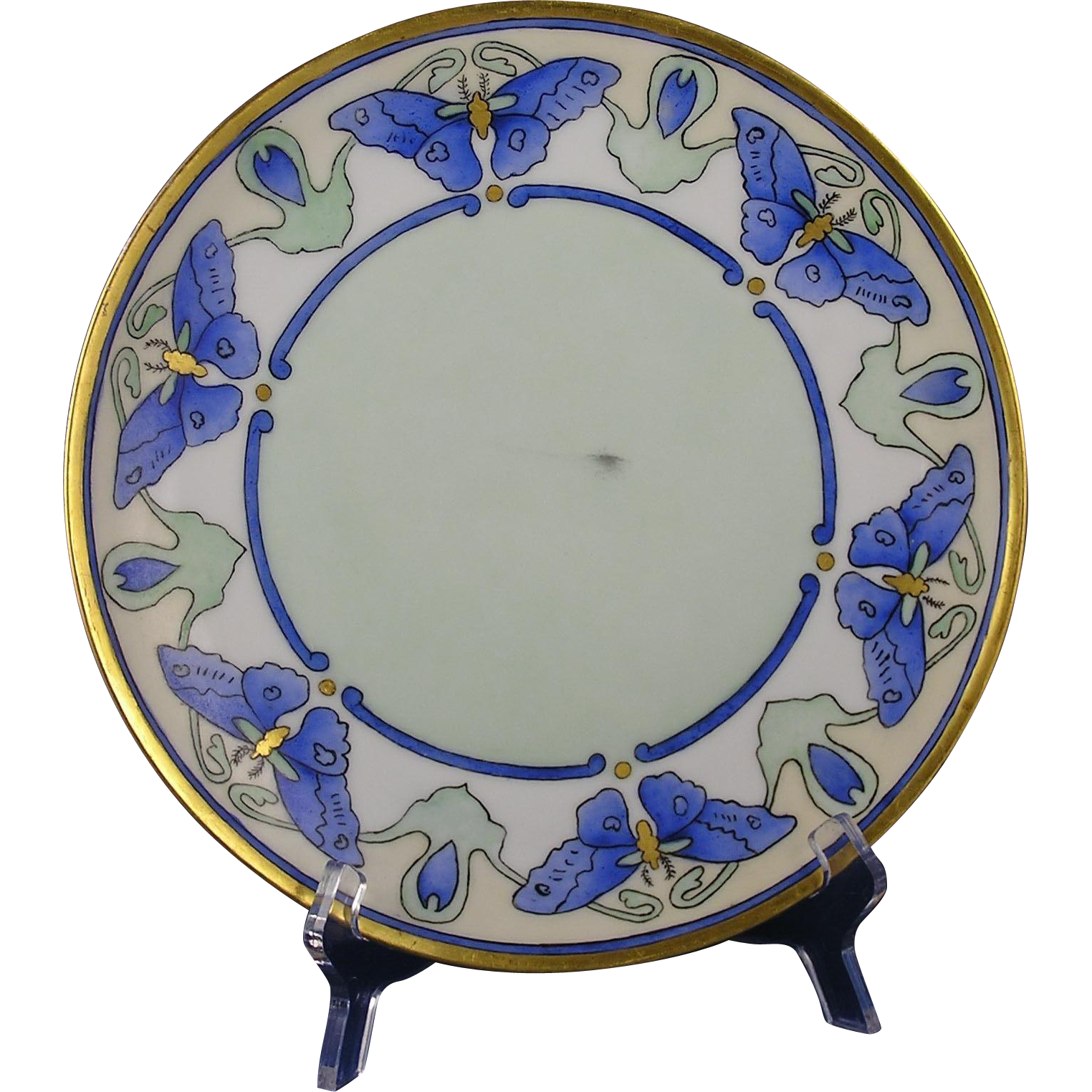 Thomas Bavaria Arts & Crafts Blue Butterfly Motif Plate (c.1908-1930) - Keramic Studio Design