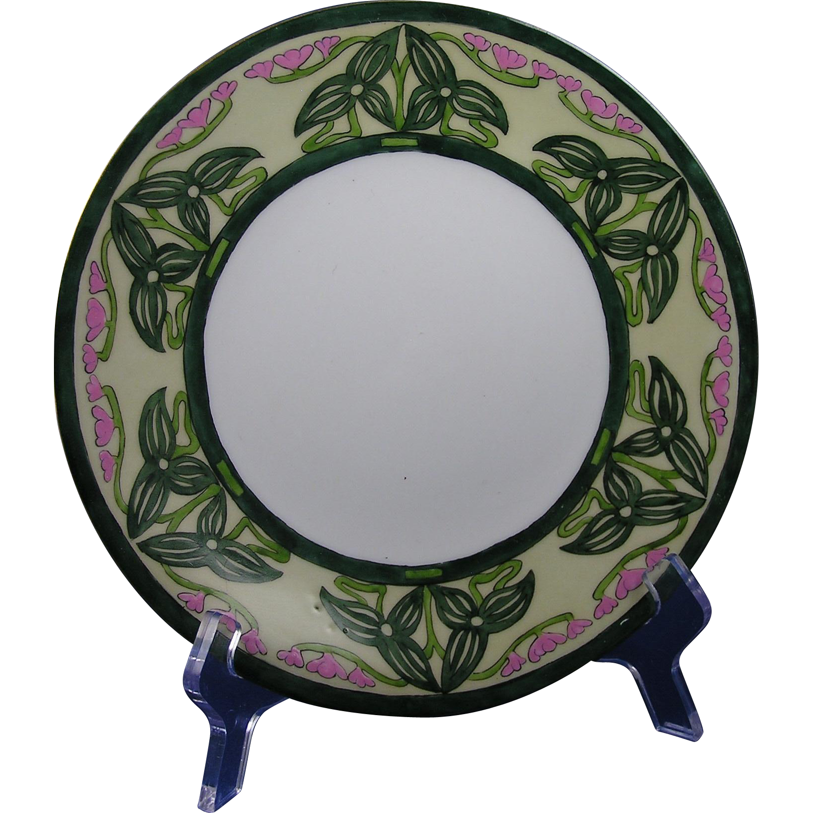 "Porcelain Limousine (PL) Limoges Arts & Crafts Flower & Vine Motif Plate (Signed ""H.E.""/c.1905-1930)"