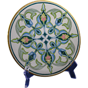 "Jean Pouyat (JP) Limoges Arts & Crafts Geometric/Islamic Motif Plate (Signed ""H.E.""/c.1905-1930)"