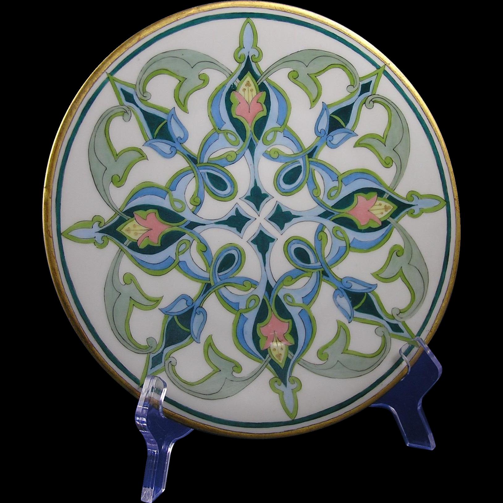 "Jean Pouyat (JP) Limoges Arts & Crafts Geometric/Islamic Motif Plate (Signed ""H.E.""/c.1905-1930)"