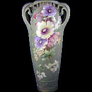 RSTK Amphora Austria Art Nouveau Enameled Floral Design Vase (c.1899-1910)