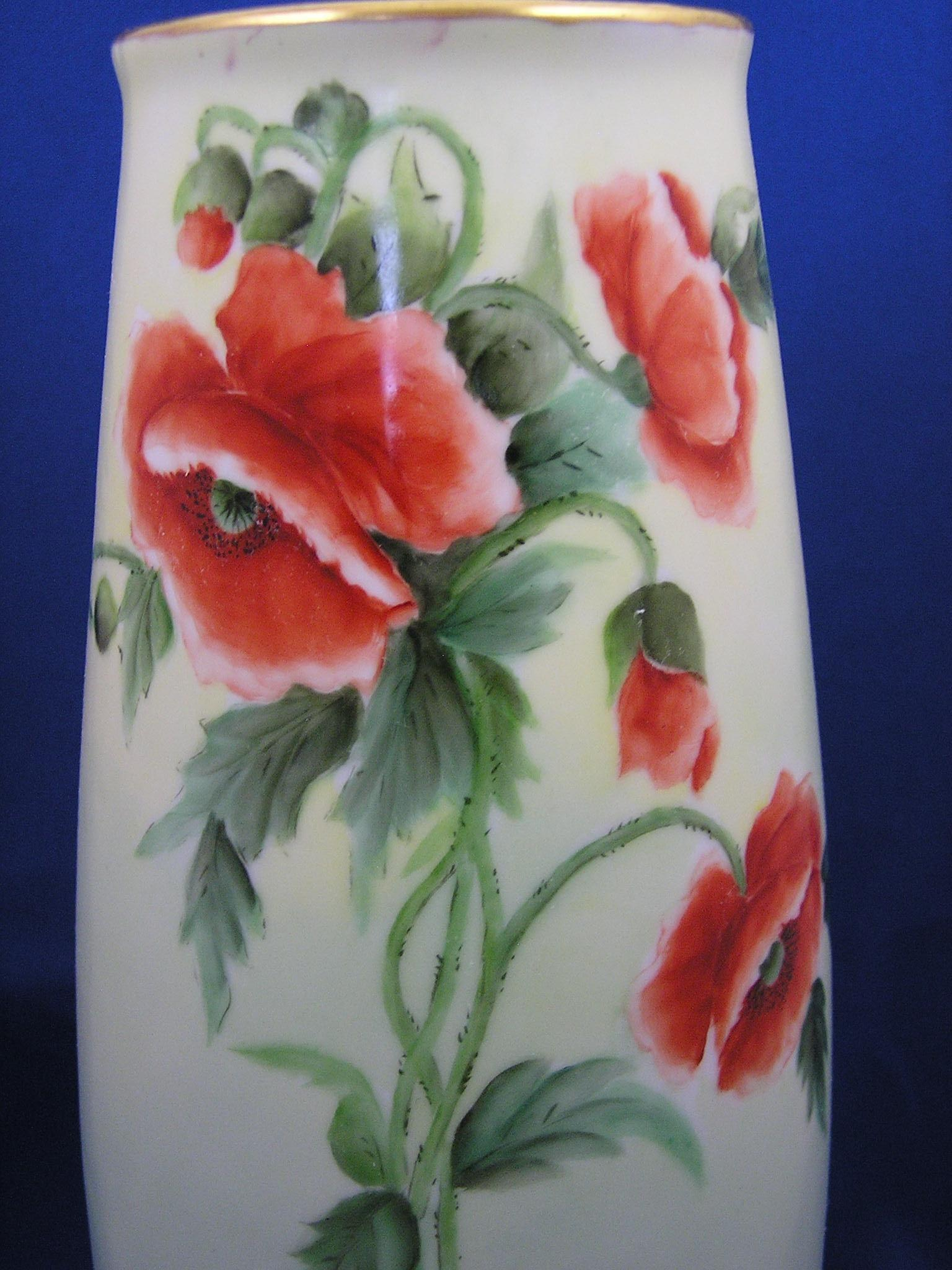 PH Leonard Austria Arts & Crafts Poppy Design Vase c 1890 1908 from dar