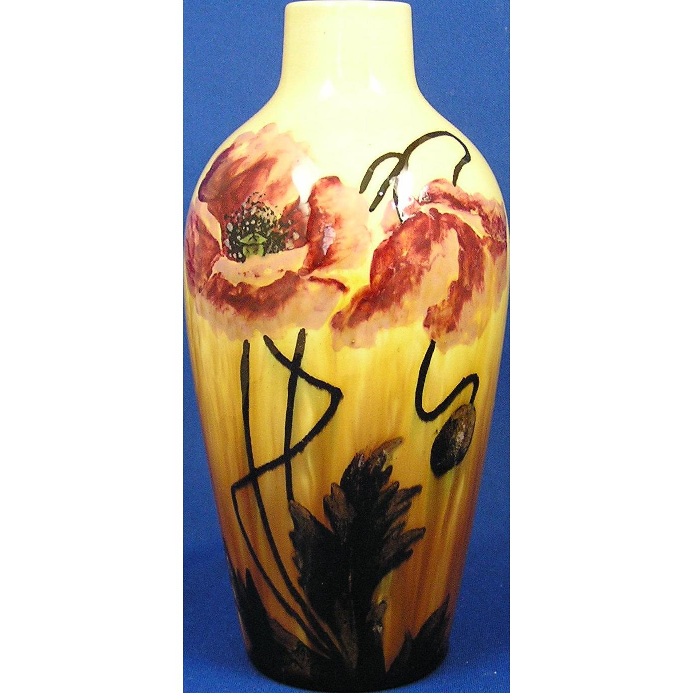 Austria Majolica Glaze Poppy Motif Vase (c.1890-1930)