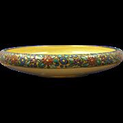 "Porcelain Blank Arts & Crafts Enameled Floral Design Console/Centerpiece Bowl (Signed ""A.M. Wenzelberger""/c.1910-1930)"