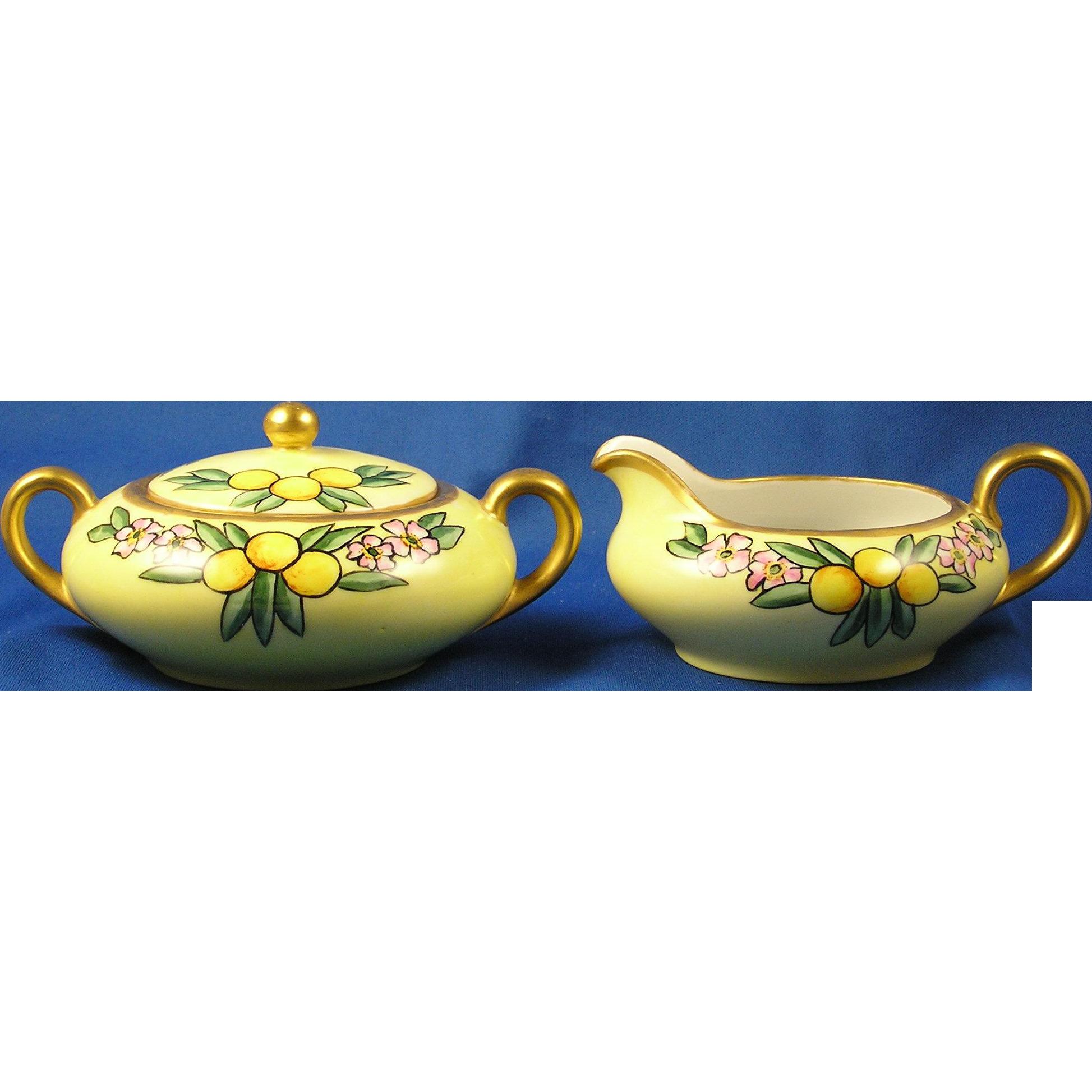 "Oscar & Edgar Gutherz (O&EG) Austria Arts & Crafts Citrus Motif Creamer & Sugar Set (Signed ""M. Hickman""/c.1899-1918)"