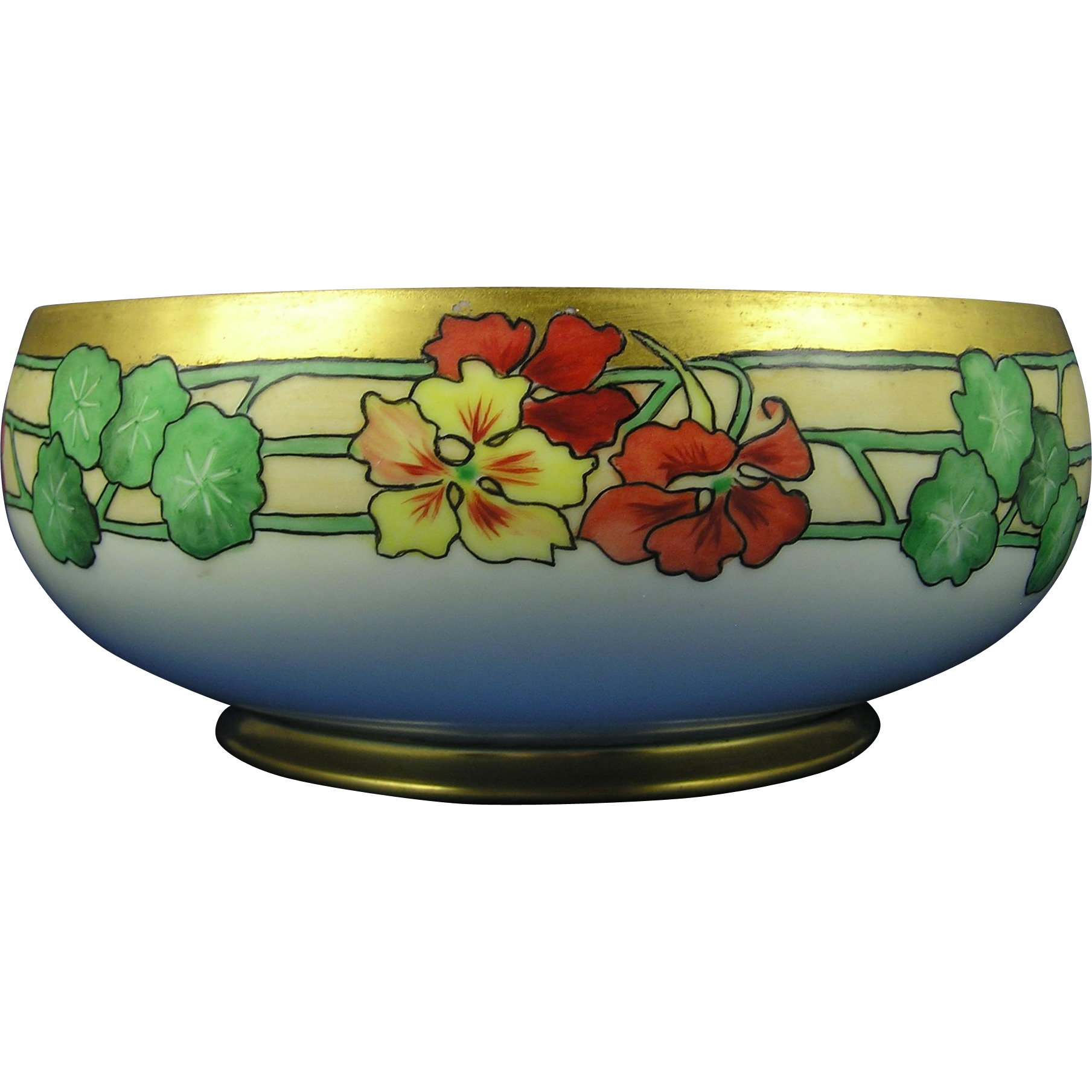HC Royal Bavaria Arts & Crafts Nasturtium Motif Centerpiece Bowl (c.1910-1930)