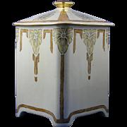 Bernardaud & Co. (B&Co.) Limoges Art Deco Floral Motif Covered Canister/Jar (c.1913-1930) - Keramic Studio Design