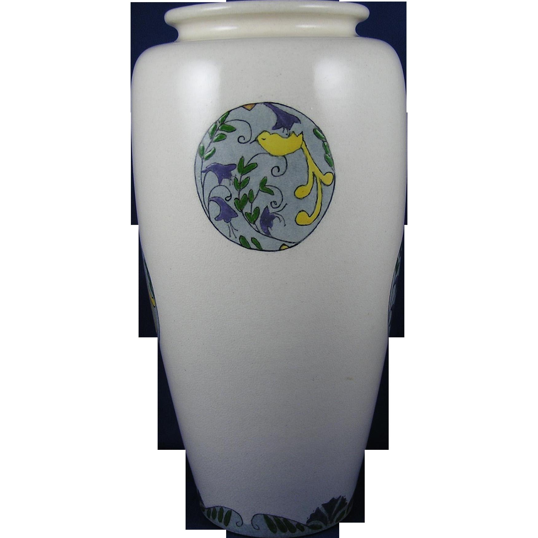 American Satsuma Arts & Crafts Bird & Floral Medallions Design Vase (Signed /Dated 1922) - Keramic Studio Design