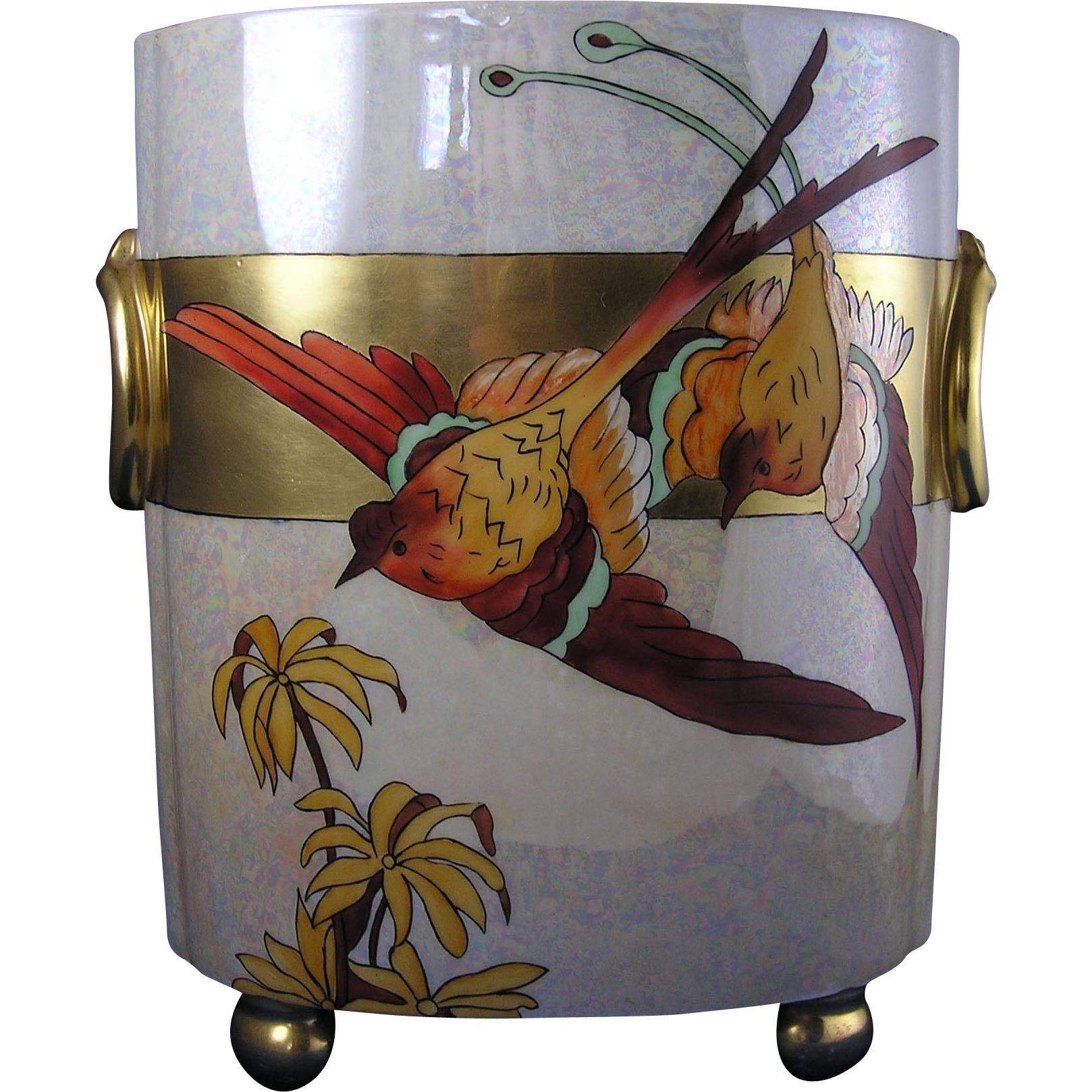 "William Guerin & Co. (WG&Co.) Limoges Arts & Crafts Bird of Paradise Vase/Cachepot (Signed ""V. Schlueter""/c.1900-1932)"