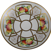 "B.H. Limoges Pickard Studios ""Peaches Linear"" Design Pedestal Bowl (Signed ""Beutlich"" for Anton Berthold Beutlich/c.1903-1905)"