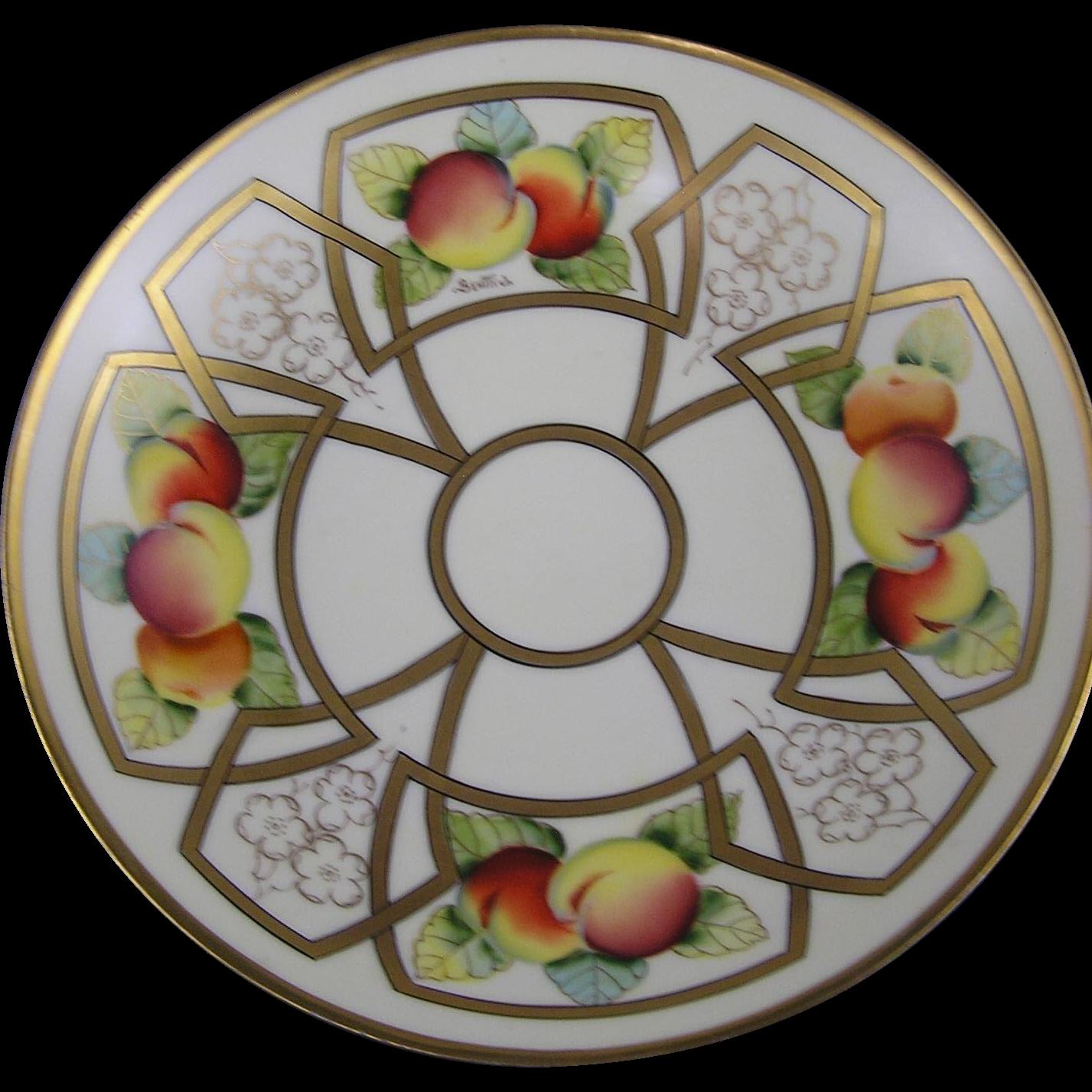 "B.H. Limoges Pickard Studios ""Peaches Linear"" Design Pedestal Bowl (Signed ""Beutlich"" for Anton Berthold Beutlich/c.1903-1905)"