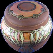 Royal Bavaria Arts & Crafts Floral Lustre Covered Canister/Humidor (c.1910-1930)