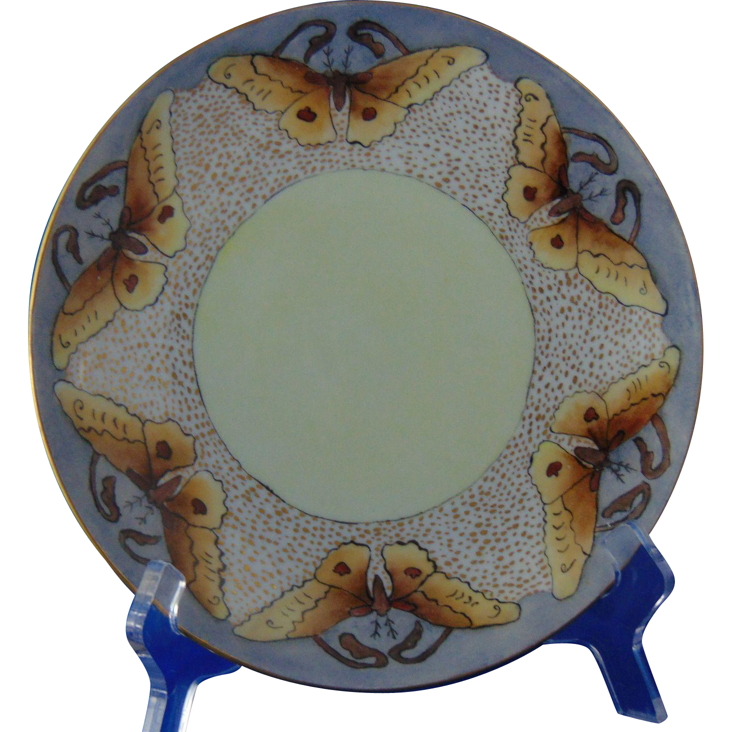 "Carstens Weimar Germany Arts & Crafts Butterfly/Moth Motif Plate (Signed ""G. Roberts""/c.1918-1945)"