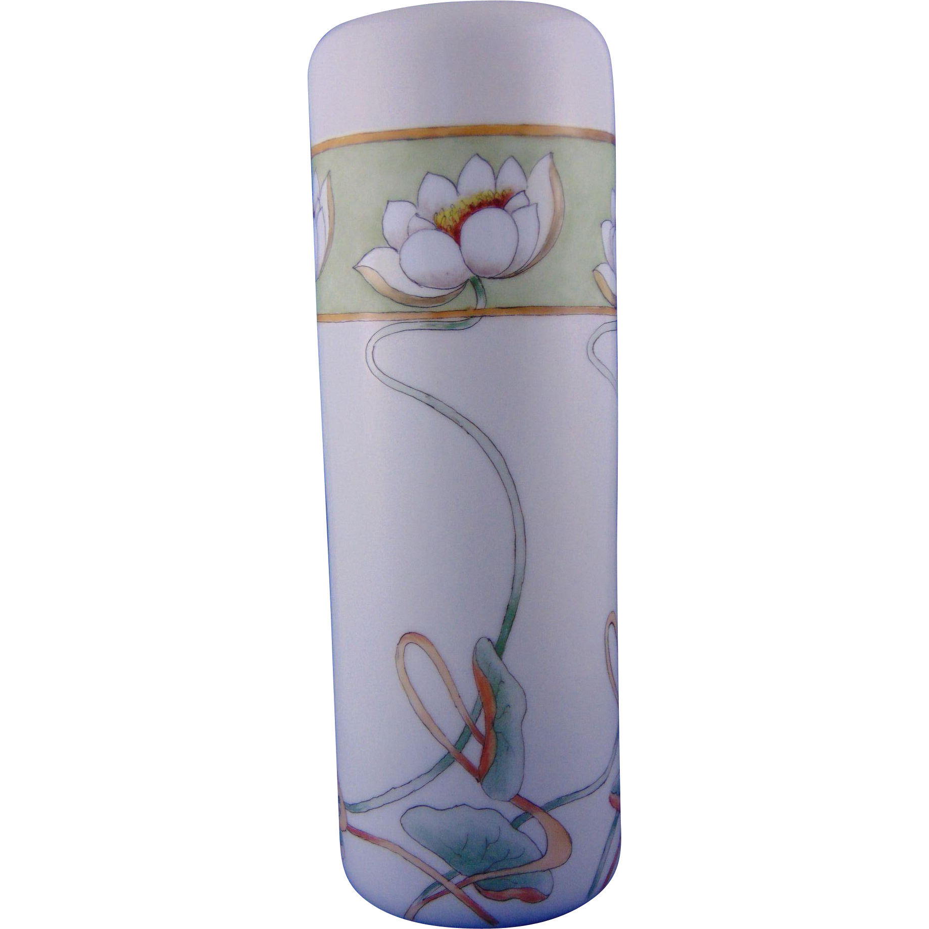 "PH Leonard Austria ""Pond Lilies"" Design Vase (Signed ""St. Luke's Studio, Oldenburg, Ind.""/Dated 1917)"
