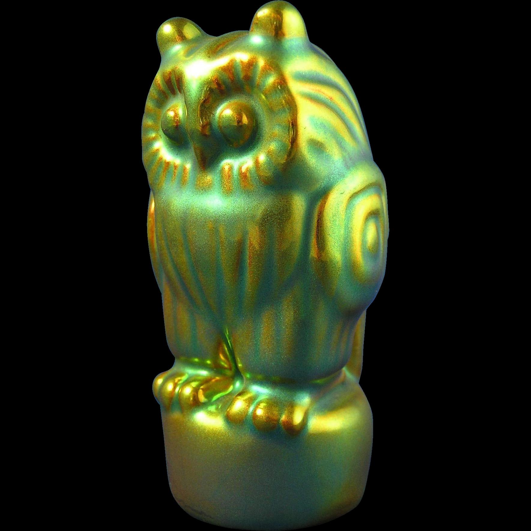 Zsolnay Hungary Eosin Green Art Deco Owl Figurine (c.1920-1940)