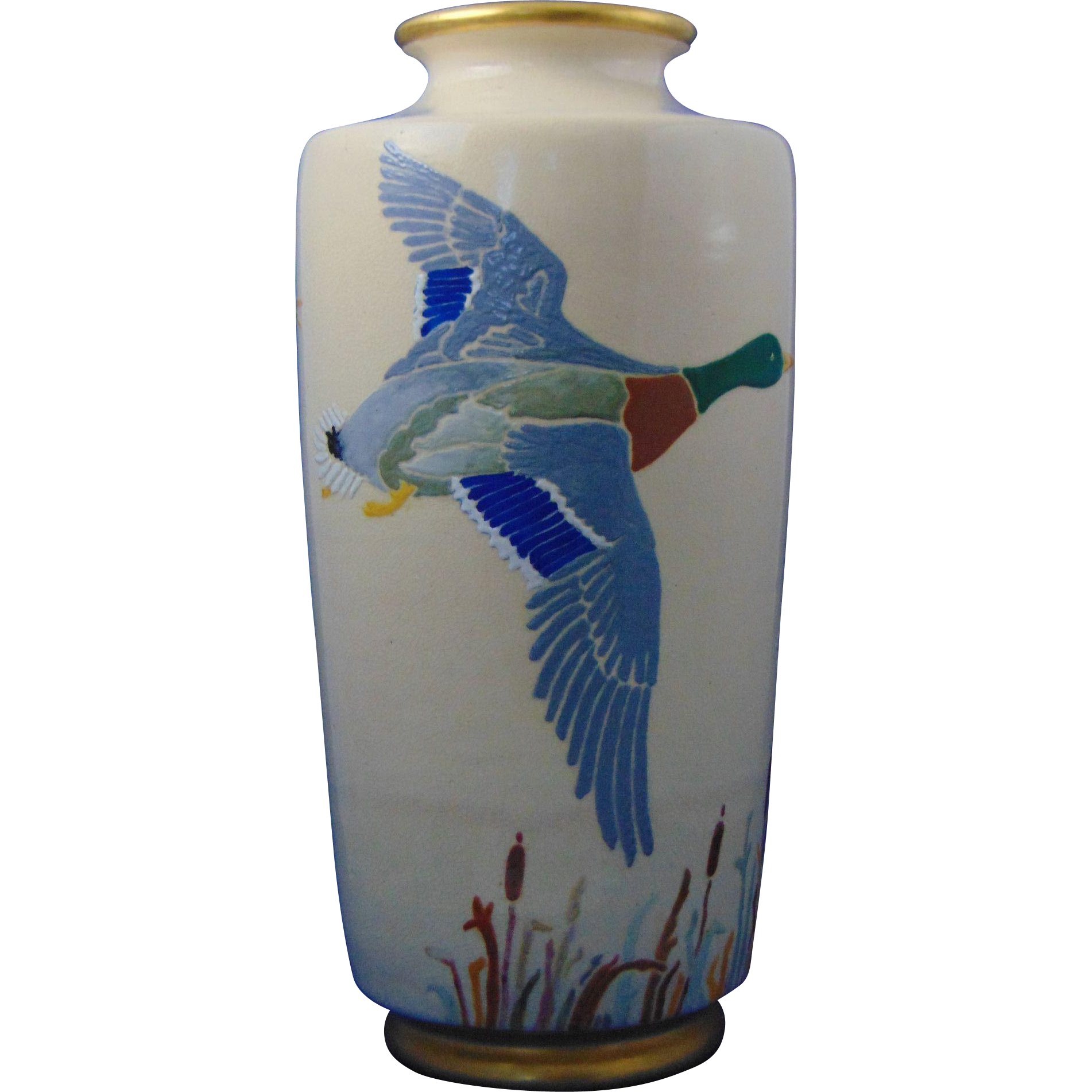 "American Satsuma Arts & Crafts Duck Motif Vase (Signed ""Jessie L. Sutmar""/Dated 1947)"