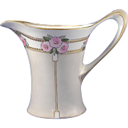 "Hutschenreuther Cacilie Favorite Bavaria Arts & Crafts Floral Motif Pitcher (Signed ""H.D.W""/Dated 1910)"