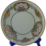 "Limoges Mark 6 Arts & Crafts ""Wild Hollyhock"" Design Plate (Signed ""Mary Catherine Cremer McFaddin""/Dated 1914)"