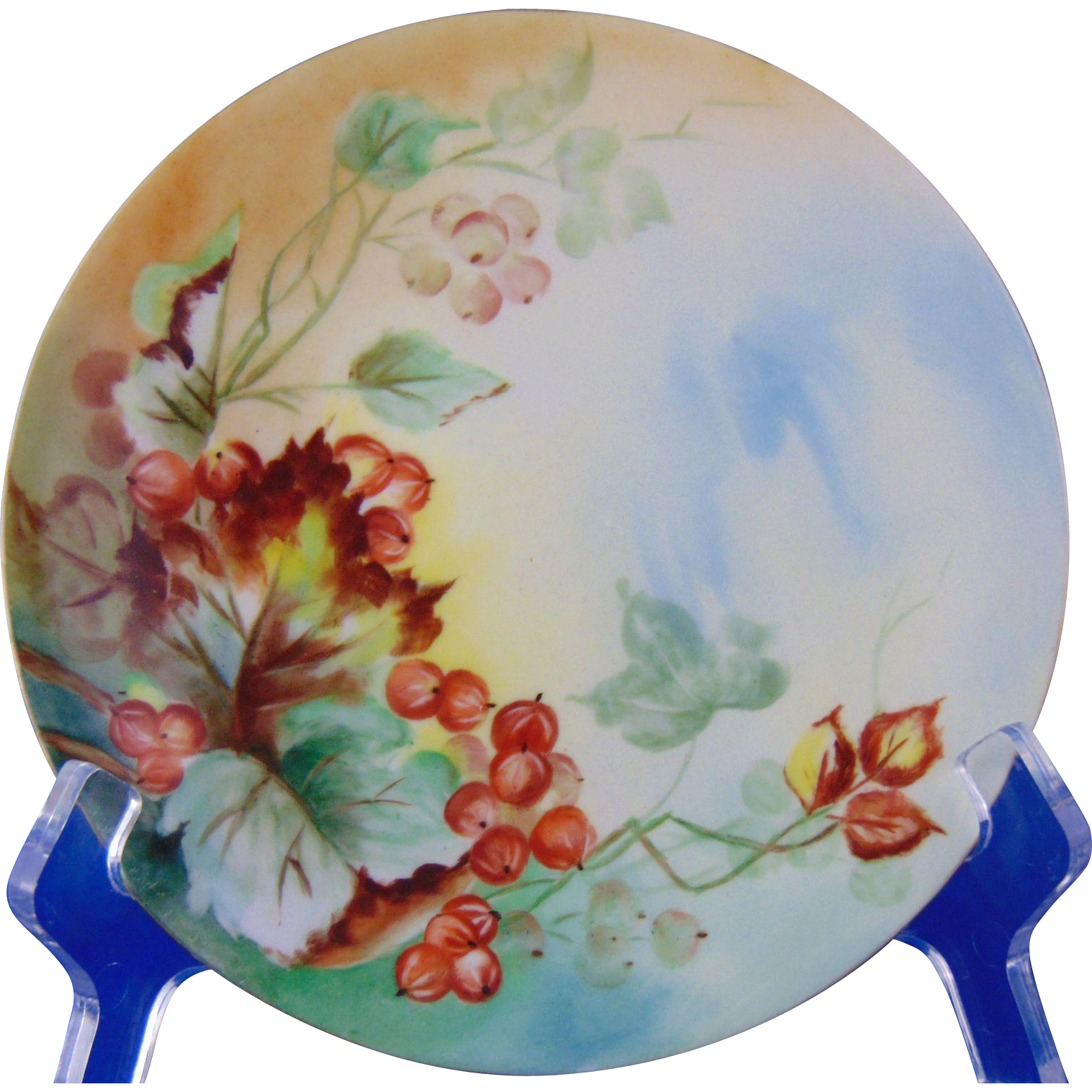 "Jean Pouyat (JP) Limoges Currant Motif Plate (Signed ""MP""/Dated 1906)"