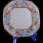 "Bernardaud & Co. (B&Co.) Limoges Arts & Crafts Floral & Butterfly Motif Plate (Signed ""V. vanH.""/Dated 1928)"