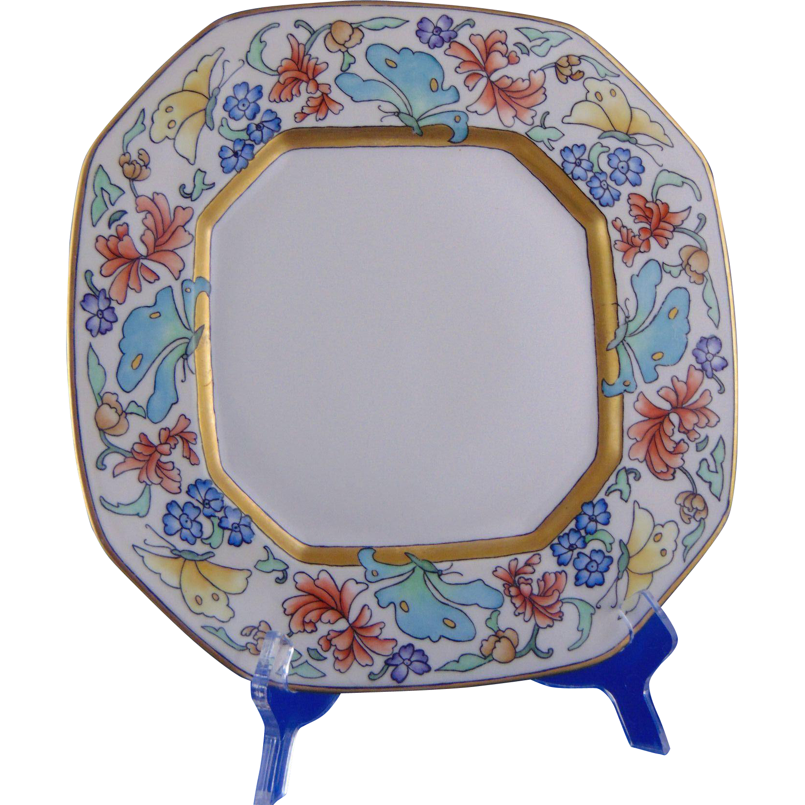 "Bernardaud & Co. (B&Co.) Limoges Arts & Crafts Floral & Butterfly Motif Plate (Signed ""V. vanH.""/Dated 1928)"