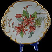 """Tressemann & Vogt (T&V) Limoges Floral Motif Centerpiece Bowl (Signed """"M.B.C.""""/c.1892)"""