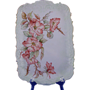 "Coiffe Limoges Wild Rose Motif Tray (Signed ""M.B.C.""/Dated 1894)"