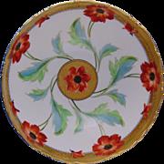 "Tressemann & Vogt (T&V) Limoges Stouffer Studios Poppy Design Punch/Centerpiece Bowl (Signed ""ED""/c.1906-1914)"