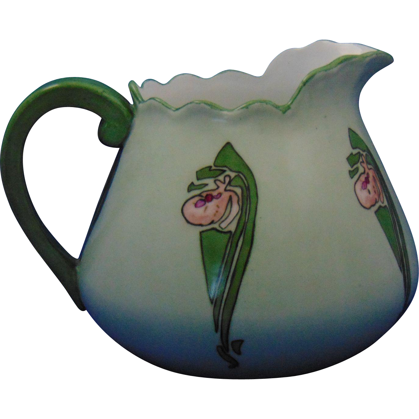 "PH Leonard Austria Arts & Crafts Lady Slipper/Moccasin Flower Motif Pitcher (Signed ""A.W.""/c.1890-1908)"