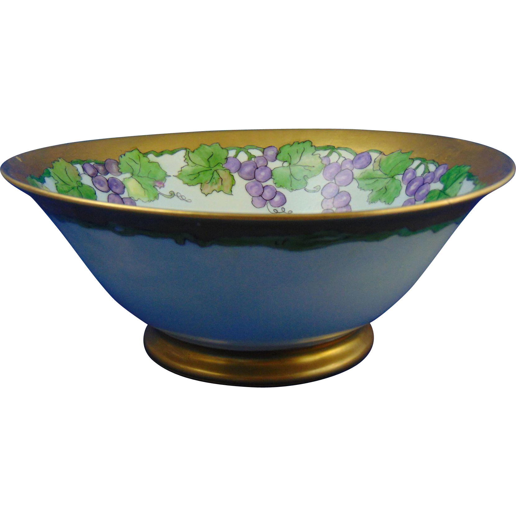"Porcelain Blank Arts & Crafts Grape Motif Bowl (Signed ""L.M. Wright""/c.1910-1930)"