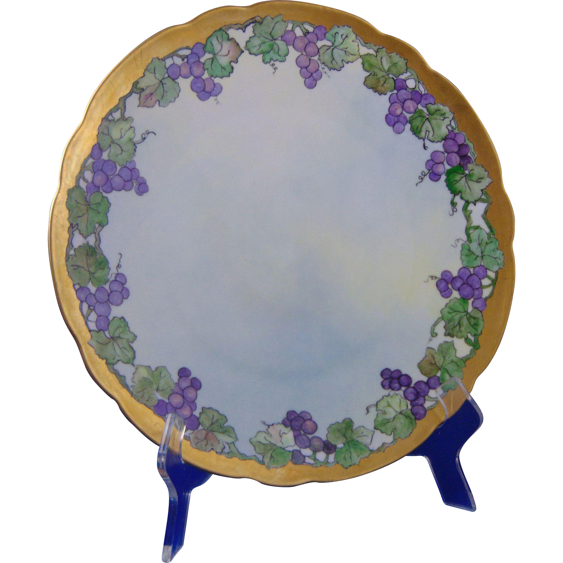 "Bavaria Arts & Crafts Grape Motif Plate/Charger (Signed ""L.M. Wright""/Dated 1913)"