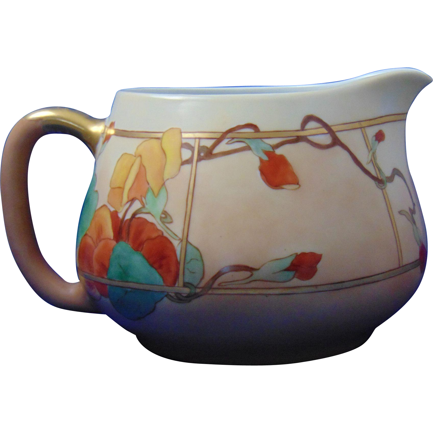 Haviland Limoges Arts & Crafts Nasturtium Motif Cider/Lemonade Pitcher (c.1894-1931)
