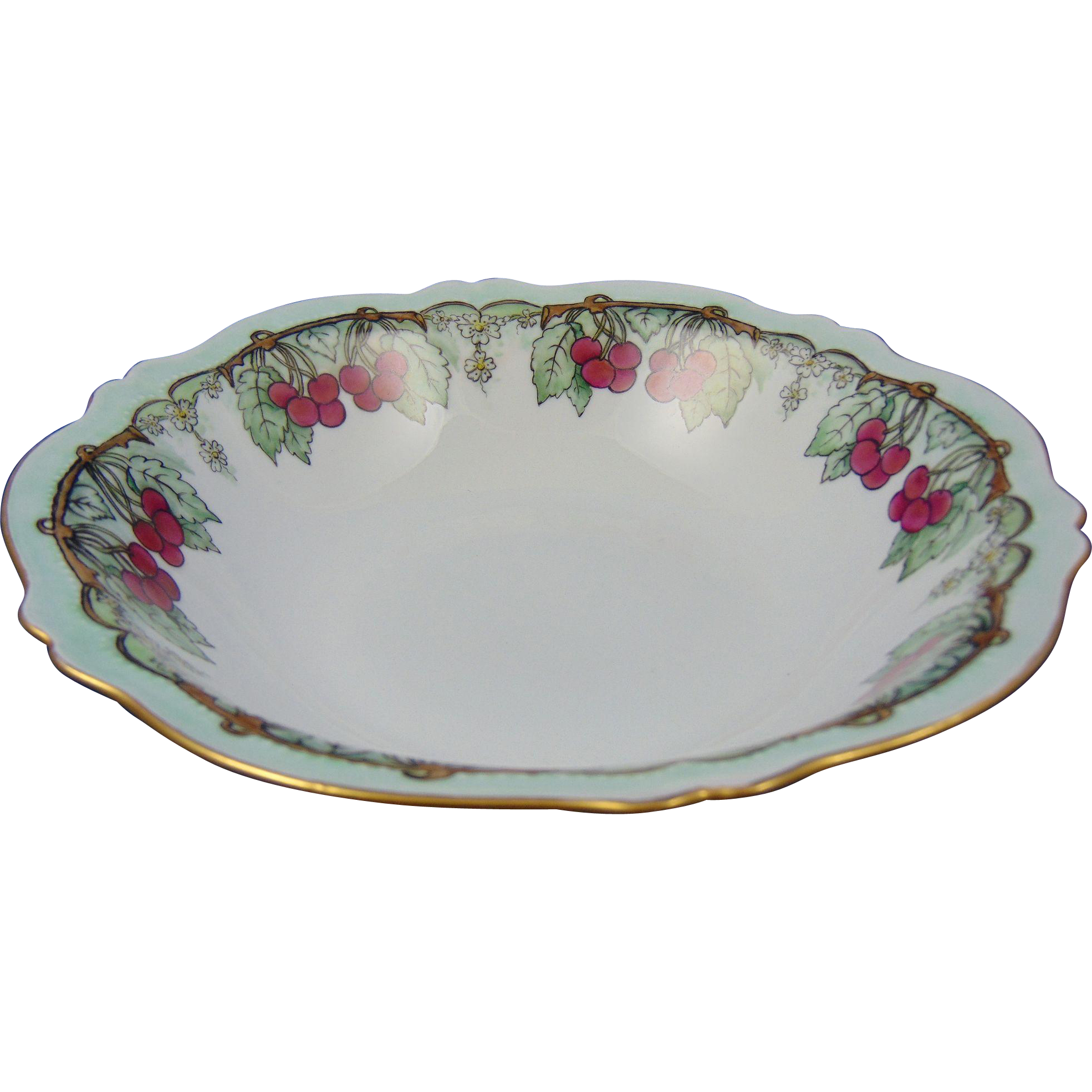 Oscar & Edgar Gutherz (O&EG) Austria Arts & Crafts Cherry Motif Bowl (Dated 1916)