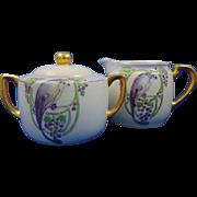 Krister Porcelain Manufactory (KPM) Germany Art Deco Bird Design Creamer & Sugar Set (c.1904-1927)