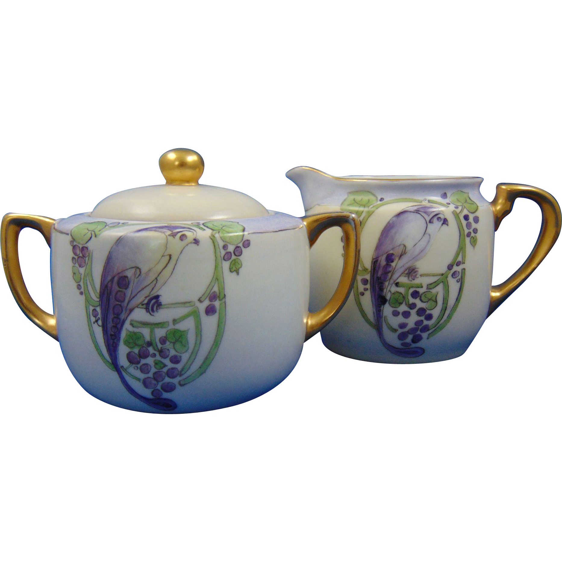 Krister Porcelain Manufactory (KPM) Germany Art Deco Bird Design Creamer & Sugar Set (c.1917-1927) - Keramic Studio Design