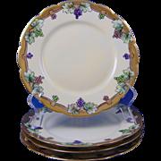 "Limoges Mark 6 Grape Design Plate Set (Qty 4) (Signed ""M. Paddock""/c.1891-1930)"