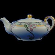 "Oscar & Edgar Gutherz (O&EG) Austria Arts & Crafts Floral Design Teapot (Signed ""M.R. Emerson""/c.1899-1918)"