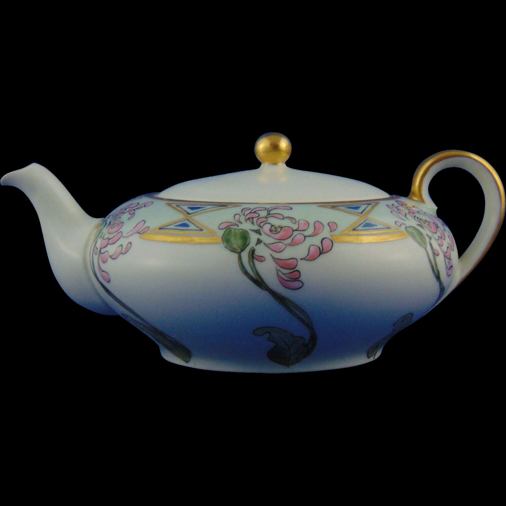 "Oscar & Edgar Gutherz (O&EG) Austria Arts & Crafts Floral Design Teapot (Signed ""M.R. Emerson""/c.1899-1918) - Keramic Studio Design"