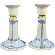 "Tressemann & Vogt (T&V) Limoges Arts & Crafts Candlesticks (Signed ""McCarty""/Dated 1910)"