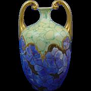 """Jean Pouyat (JP) Limoges Handled Arts & Crafts Abstract Floral Motif Vase (Signed """"V.C.H.""""/c.1890-1932)"""