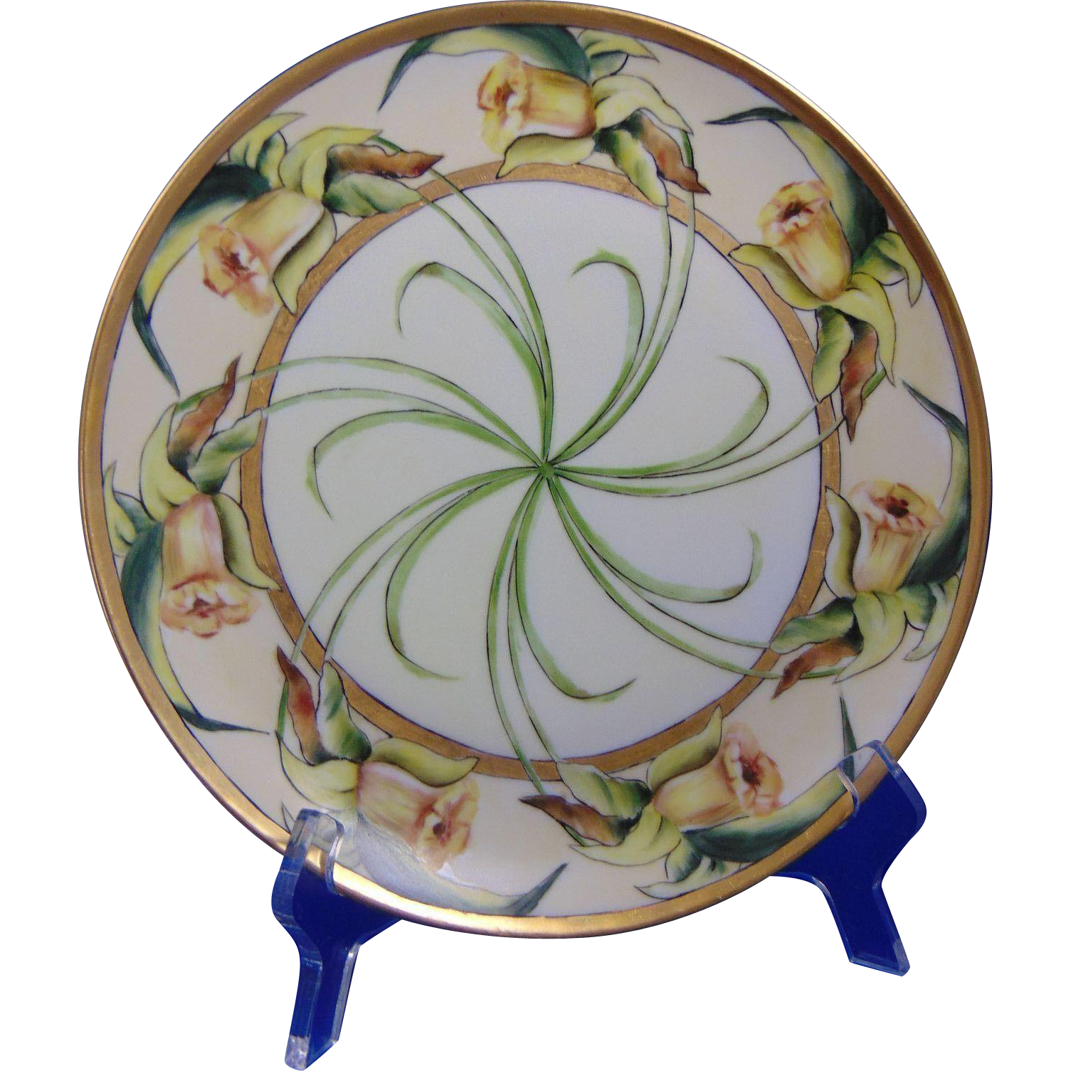 "Haviland Limoges Arts & Crafts Daffodil Motif Plate (Signed ""Minnie H. Cox""/c.1894-1931)"