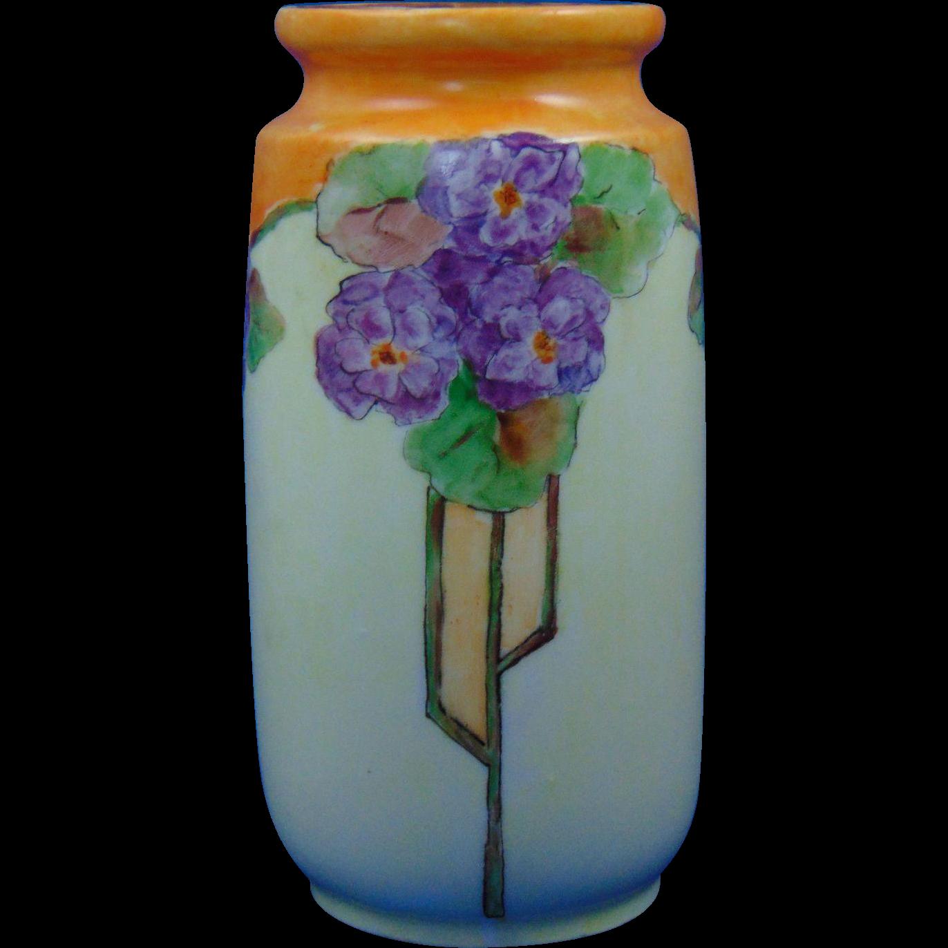 Wehinger Czecho-Slovakia Arts & Crafts Violet Design Vase (c.1918-1936)