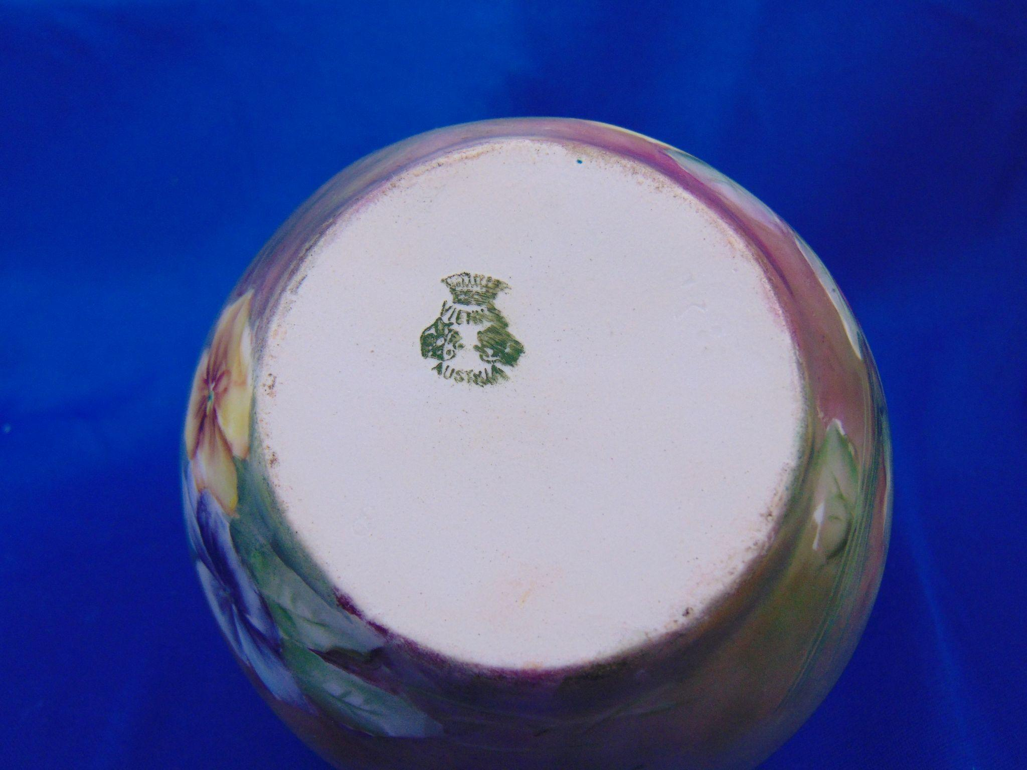 PH Leonard Austria Pansy Motif Vase c 1890 1908 from darkflowers on Ruby Lane