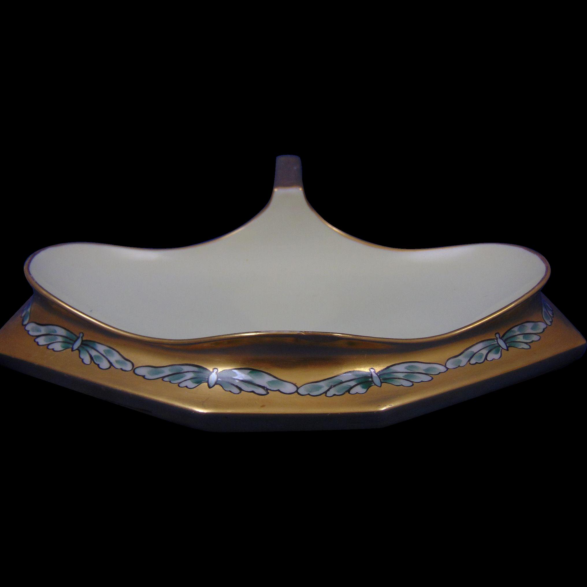 """T&V Limoges Arts & Crafts Moth Motif Handled Tray (Signed """"M.E. Stoddard""""/c.1897-1907)"""
