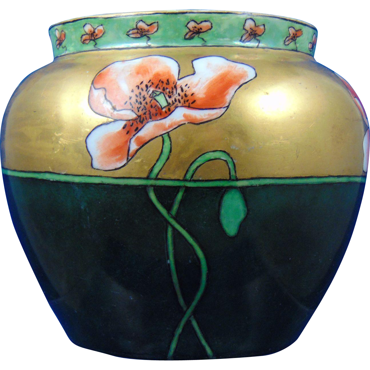 "Uno Bavaria Arts & Crafts Poppy Motif Jardinière/Vase (Signed ""Highure""/c.1910-1930)"