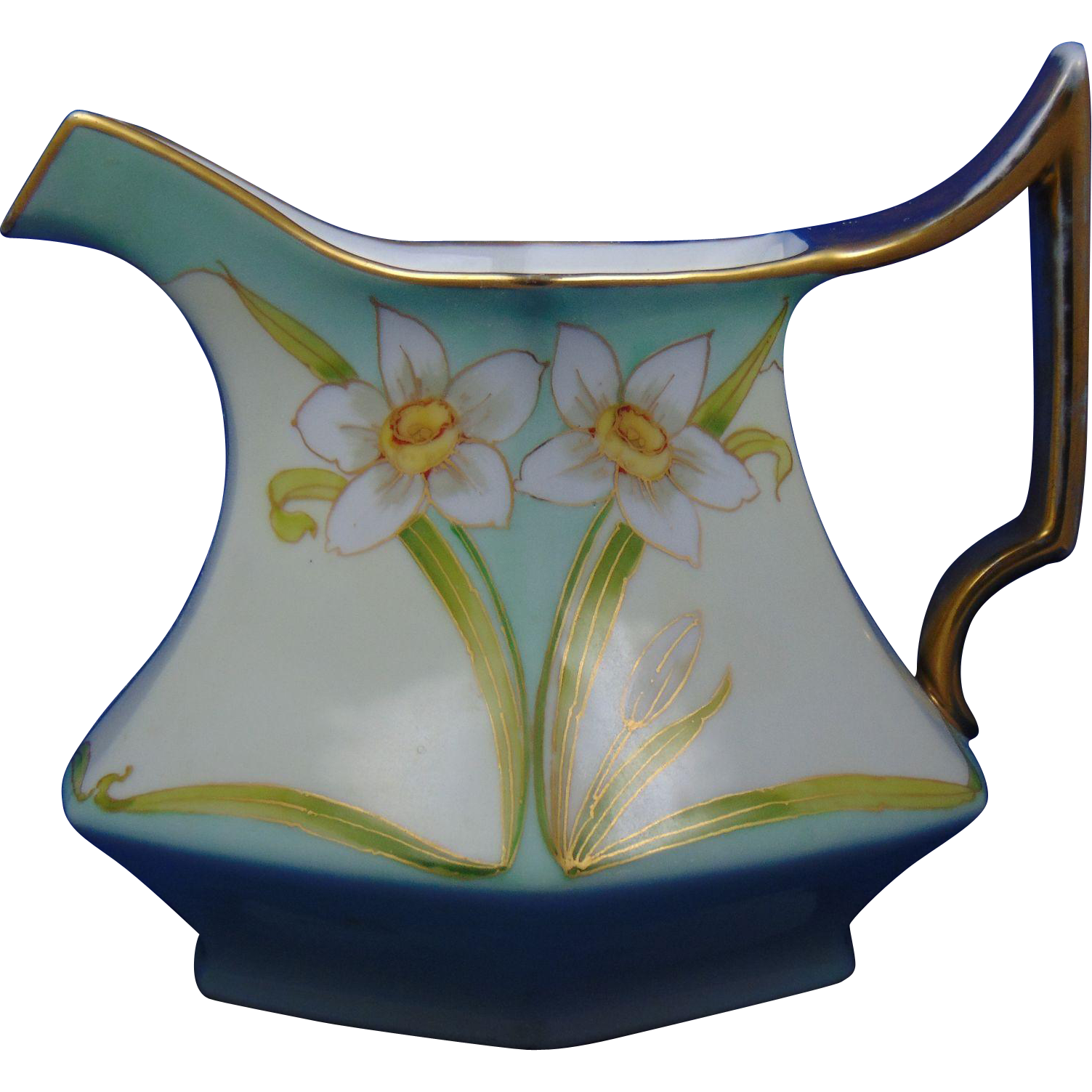 Tressemann & Vogt (T&V) Limoges France Studio Chicago Jonquil Design Cider Pitcher (c.1906-1916)