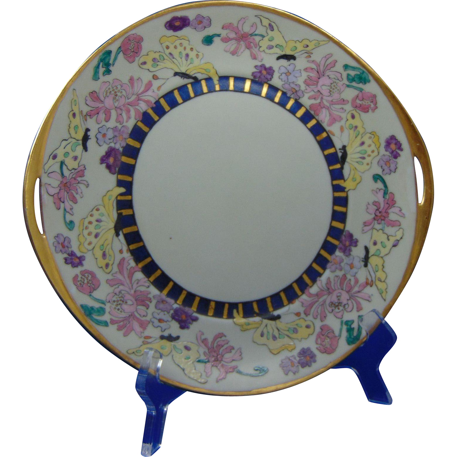 "Hermann Ohme Silesia Arts & Crafts Enameled Floral & Butterfly Motif Handled Plate (Signed ""May Bruhm""/c.1882-1920)"