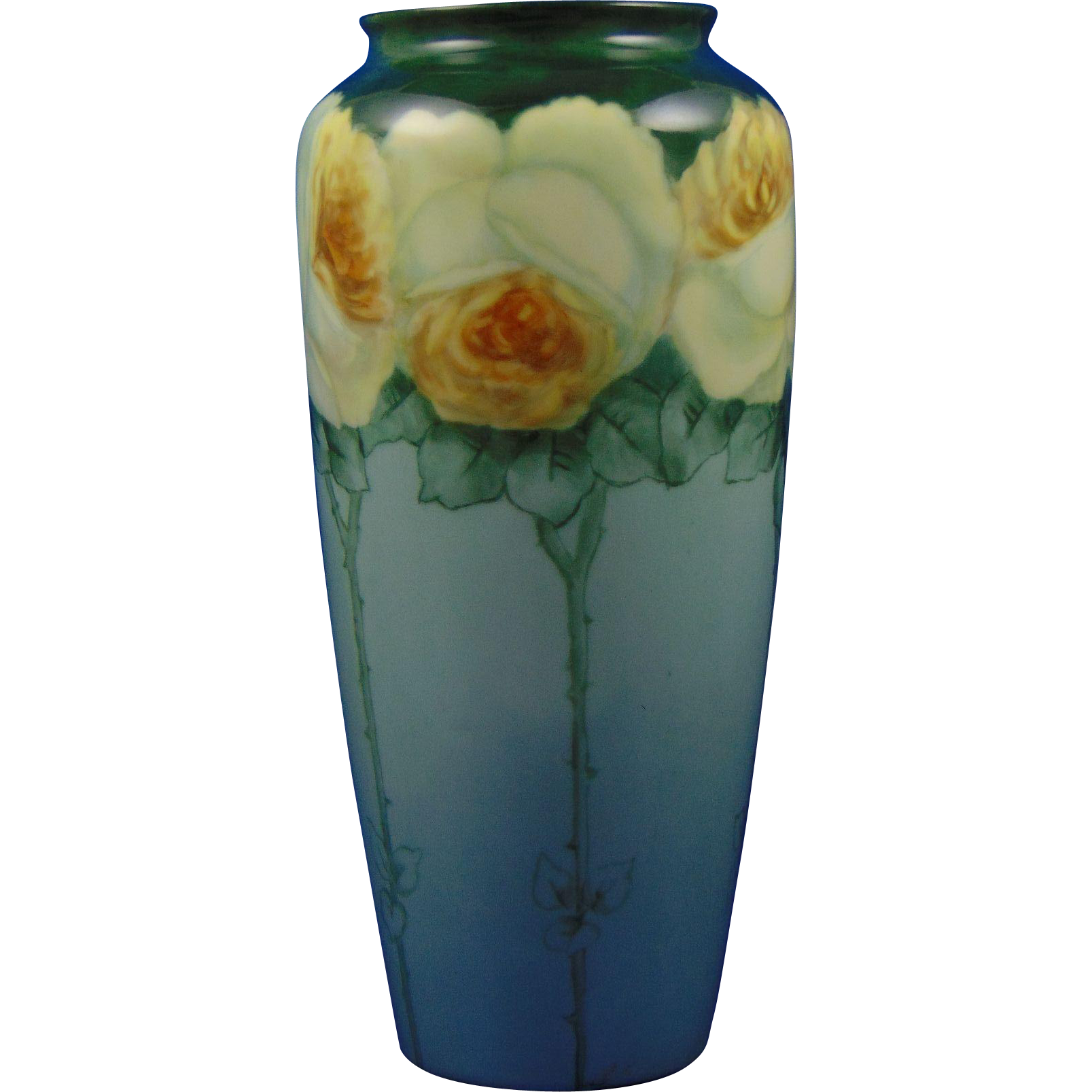 Rosenthal Bavaria Yellow Rose Design Vase (c.1907-1940)
