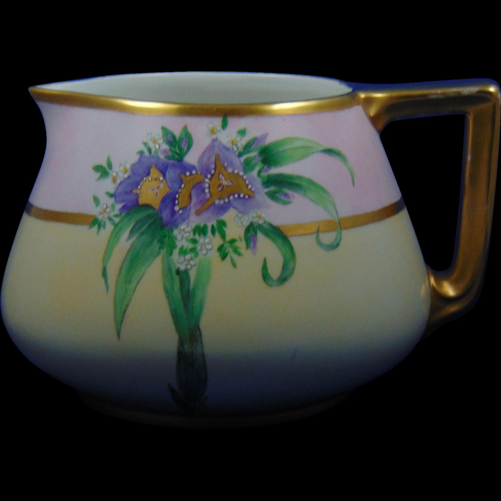 """Bernardaud & Co. (B&Co.) Limoges Arts & Crafts Floral Motif Cider Pitcher (Signed """"L. Ardrey""""/c.1900-1914)"""